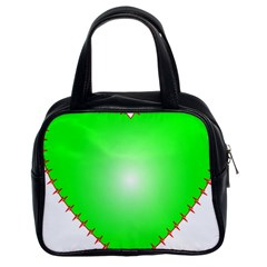 Heart Rhythm Inner Green Red Classic Handbags (2 Sides) by Mariart