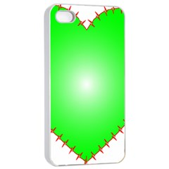 Heart Rhythm Inner Green Red Apple Iphone 4/4s Seamless Case (white) by Mariart