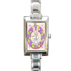 Make An Easter Egg Wreath Rabbit Face Cute Pink White Rectangle Italian Charm Watch by Mariart