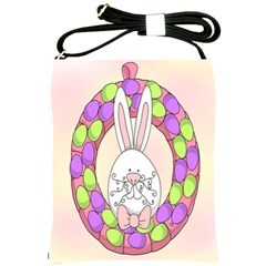 Make An Easter Egg Wreath Rabbit Face Cute Pink White Shoulder Sling Bags by Mariart
