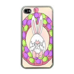 Make An Easter Egg Wreath Rabbit Face Cute Pink White Apple Iphone 4 Case (clear) by Mariart