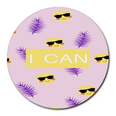 I Can Purple Face Smile Mask Tree Yellow Round Mousepads by Mariart