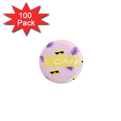 I Can Purple Face Smile Mask Tree Yellow 1  Mini Magnets (100 Pack)  by Mariart