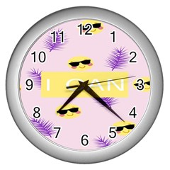 I Can Purple Face Smile Mask Tree Yellow Wall Clocks (silver)  by Mariart