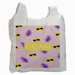 I Can Purple Face Smile Mask Tree Yellow Recycle Bag (two Side)  by Mariart