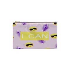 I Can Purple Face Smile Mask Tree Yellow Cosmetic Bag (small)  by Mariart