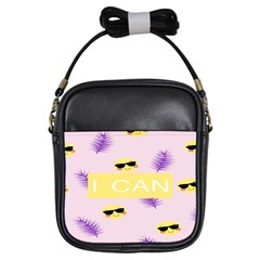 I Can Purple Face Smile Mask Tree Yellow Girls Sling Bags by Mariart