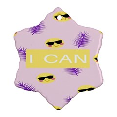 I Can Purple Face Smile Mask Tree Yellow Snowflake Ornament (two Sides) by Mariart