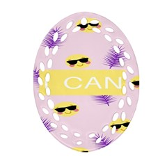 I Can Purple Face Smile Mask Tree Yellow Ornament (oval Filigree) by Mariart