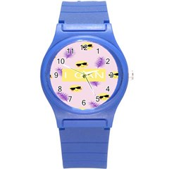 I Can Purple Face Smile Mask Tree Yellow Round Plastic Sport Watch (s) by Mariart