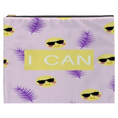 I Can Purple Face Smile Mask Tree Yellow Cosmetic Bag (xxxl)  by Mariart