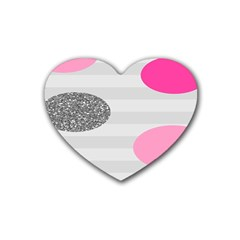 Polkadot Circle Round Line Red Pink Grey Diamond Rubber Coaster (heart)  by Mariart