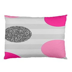 Polkadot Circle Round Line Red Pink Grey Diamond Pillow Case by Mariart