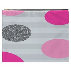 Polkadot Circle Round Line Red Pink Grey Diamond Cosmetic Bag (xxxl)  by Mariart