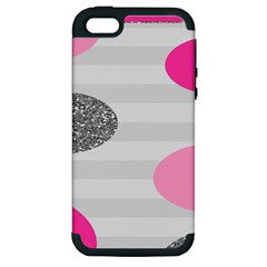 Polkadot Circle Round Line Red Pink Grey Diamond Apple Iphone 5 Hardshell Case (pc+silicone) by Mariart