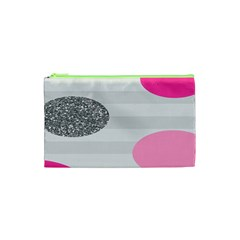 Polkadot Circle Round Line Red Pink Grey Diamond Cosmetic Bag (xs) by Mariart