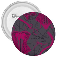 Pink Black Handcuffs Key Iron Love Grey Mask Sexy 3  Buttons by Mariart