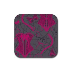 Pink Black Handcuffs Key Iron Love Grey Mask Sexy Rubber Square Coaster (4 Pack)  by Mariart