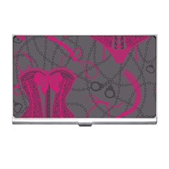 Pink Black Handcuffs Key Iron Love Grey Mask Sexy Business Card Holders by Mariart