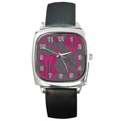 Pink Black Handcuffs Key Iron Love Grey Mask Sexy Square Metal Watch by Mariart