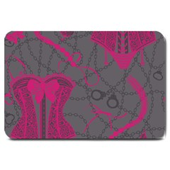 Pink Black Handcuffs Key Iron Love Grey Mask Sexy Large Doormat  by Mariart