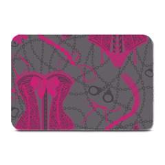 Pink Black Handcuffs Key Iron Love Grey Mask Sexy Plate Mats by Mariart
