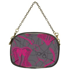 Pink Black Handcuffs Key Iron Love Grey Mask Sexy Chain Purses (two Sides)  by Mariart