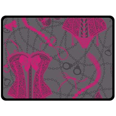 Pink Black Handcuffs Key Iron Love Grey Mask Sexy Double Sided Fleece Blanket (large)  by Mariart