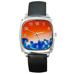 Simulate Weather Fronts Smoke Blue Orange Square Metal Watch by Mariart