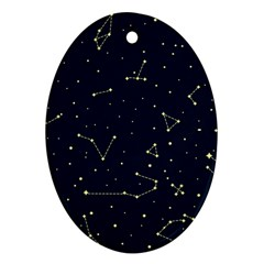 Star Zodiak Space Circle Sky Line Light Blue Yellow Ornament (oval) by Mariart