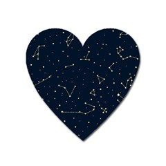Star Zodiak Space Circle Sky Line Light Blue Yellow Heart Magnet by Mariart
