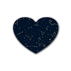 Star Zodiak Space Circle Sky Line Light Blue Yellow Rubber Coaster (heart)  by Mariart