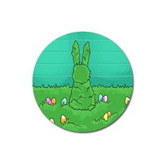 Rabbit Easter Green Blue Egg Magnet 3  (round) by Mariart