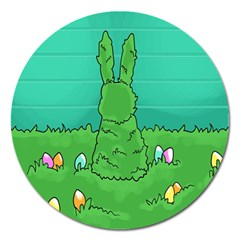 Rabbit Easter Green Blue Egg Magnet 5  (round) by Mariart