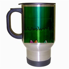 Rabbit Easter Green Blue Egg Travel Mug (silver Gray) by Mariart
