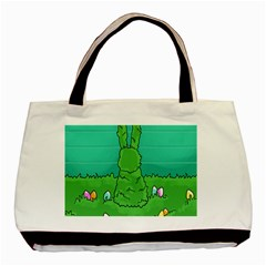 Rabbit Easter Green Blue Egg Basic Tote Bag (two Sides) by Mariart