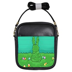 Rabbit Easter Green Blue Egg Girls Sling Bags by Mariart