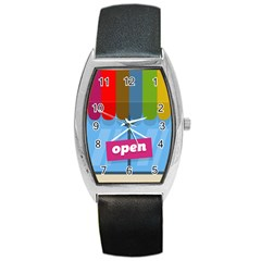 Store Open Color Rainbow Glass Orange Red Blue Brown Green Pink Barrel Style Metal Watch by Mariart