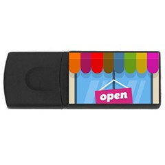 Store Open Color Rainbow Glass Orange Red Blue Brown Green Pink Usb Flash Drive Rectangular (4 Gb) by Mariart