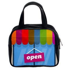 Store Open Color Rainbow Glass Orange Red Blue Brown Green Pink Classic Handbags (2 Sides) by Mariart
