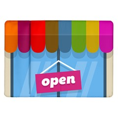 Store Open Color Rainbow Glass Orange Red Blue Brown Green Pink Samsung Galaxy Tab 10 1  P7500 Flip Case by Mariart