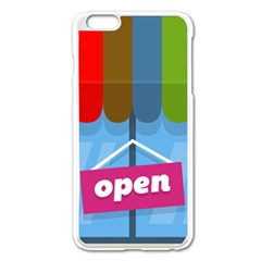Store Open Color Rainbow Glass Orange Red Blue Brown Green Pink Apple Iphone 6 Plus/6s Plus Enamel White Case by Mariart