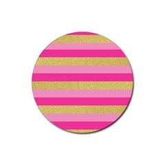 Pink Line Gold Red Horizontal Rubber Round Coaster (4 Pack)  by Mariart