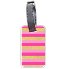Pink Line Gold Red Horizontal Luggage Tags (Two Sides) by Mariart