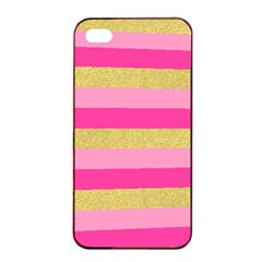 Pink Line Gold Red Horizontal Apple Iphone 4/4s Seamless Case (black) by Mariart