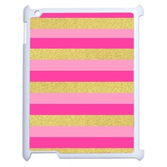 Pink Line Gold Red Horizontal Apple Ipad 2 Case (white) by Mariart
