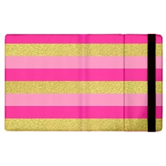Pink Line Gold Red Horizontal Apple Ipad 2 Flip Case by Mariart