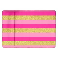Pink Line Gold Red Horizontal Samsung Galaxy Tab 10 1  P7500 Flip Case by Mariart