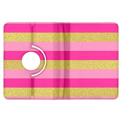 Pink Line Gold Red Horizontal Kindle Fire Hdx Flip 360 Case by Mariart