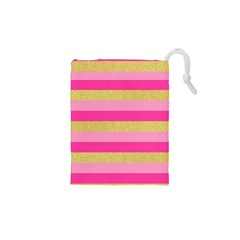 Pink Line Gold Red Horizontal Drawstring Pouches (xs)  by Mariart